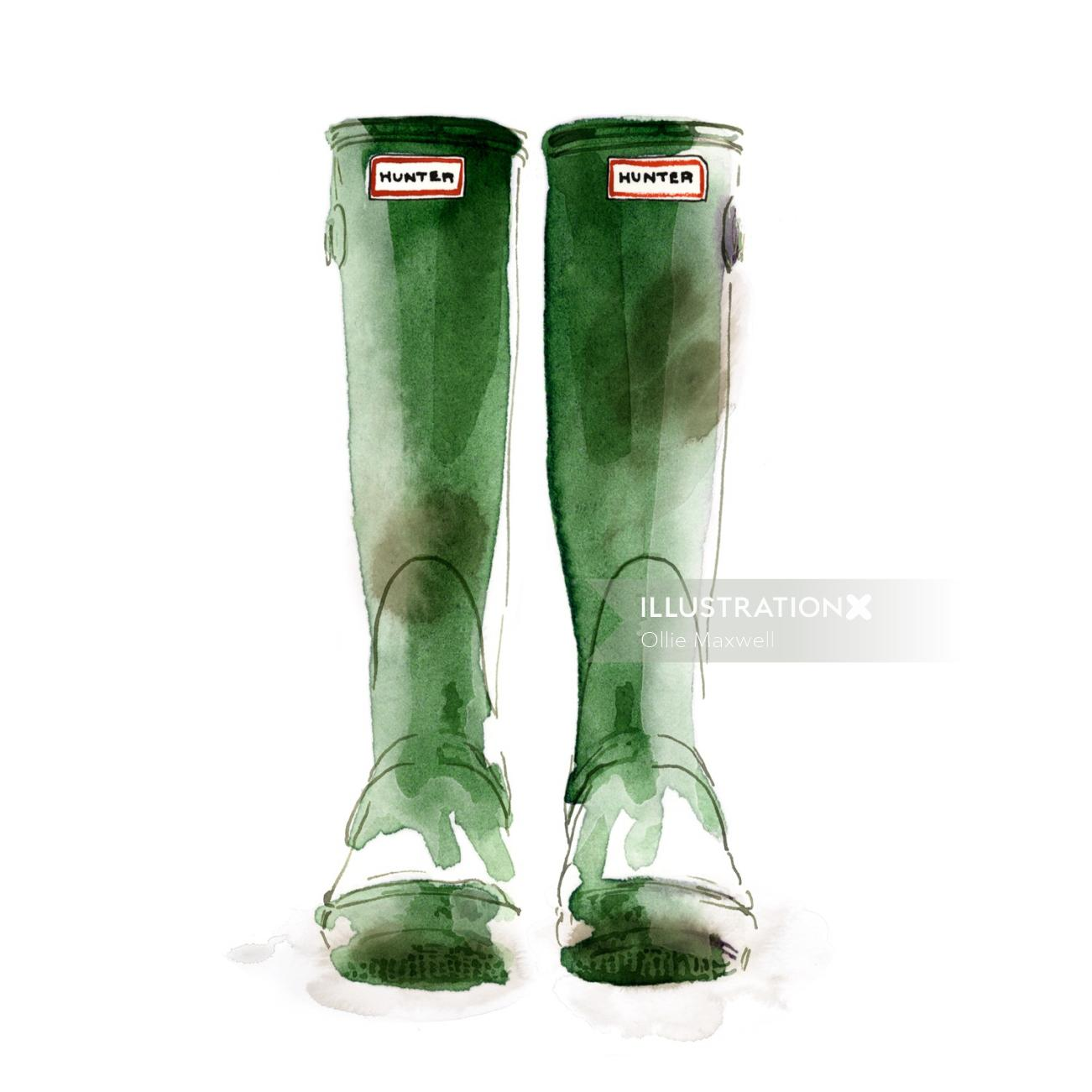 watercolor art of Wellingtons hunter boots