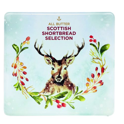 Shortbread biscuit tin with stag and wreath for Christmas