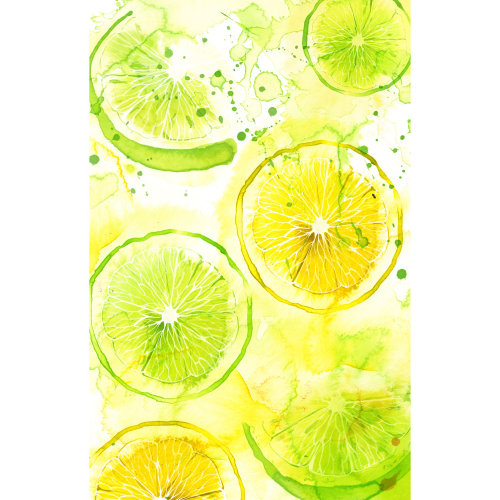 Lemons and lime slices with watercolour background