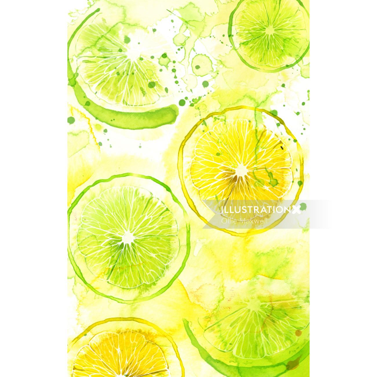 Lemons and lime slices with watercolor background