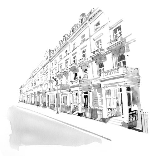 Black and white buildings of london street
