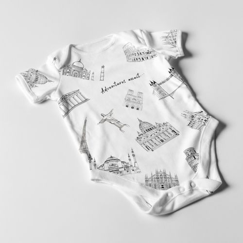 Illustration of iconic places on baby clothes