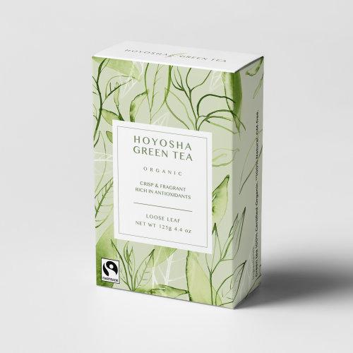 watercolour on Green tea box packaging