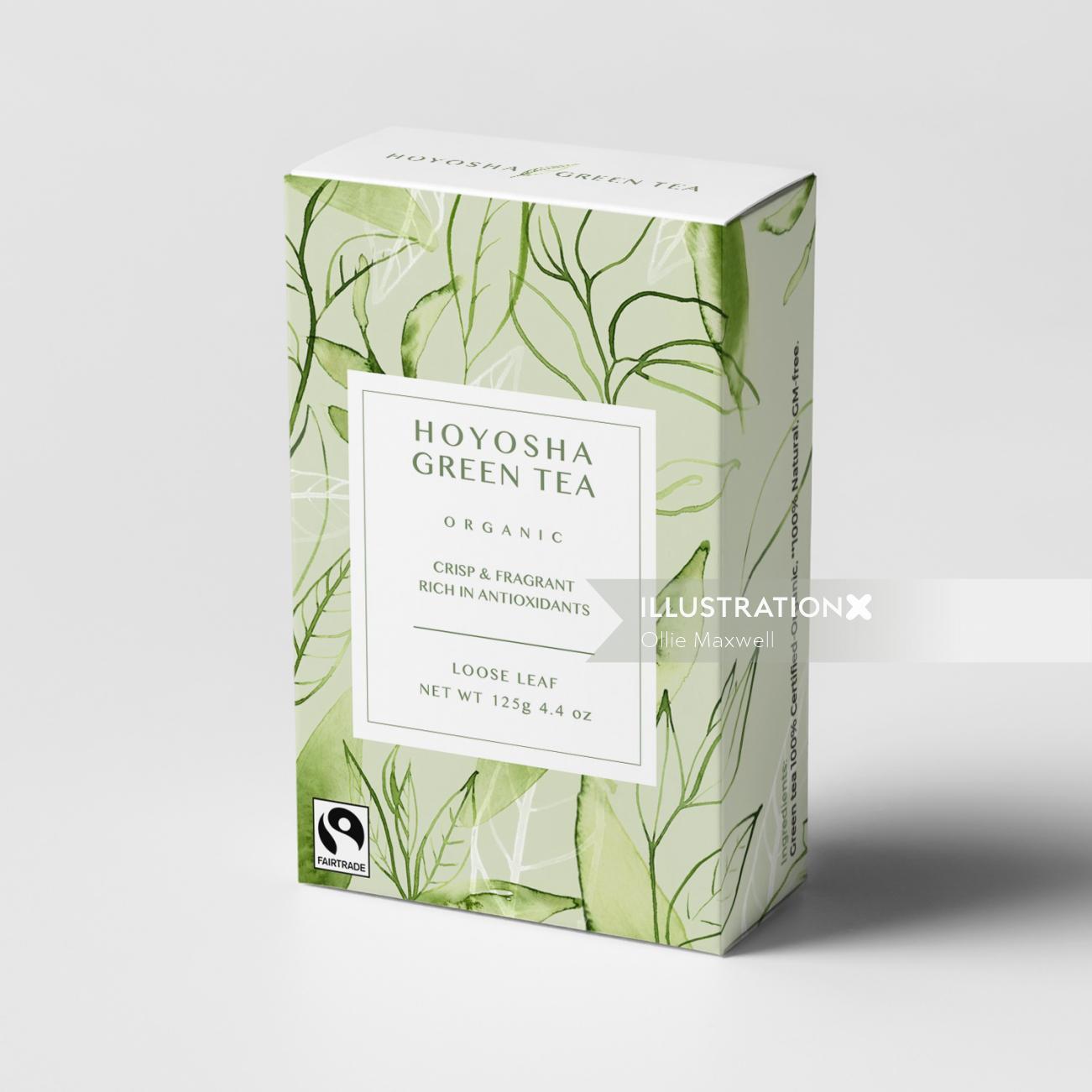 watercolour art of Green tea box packaging