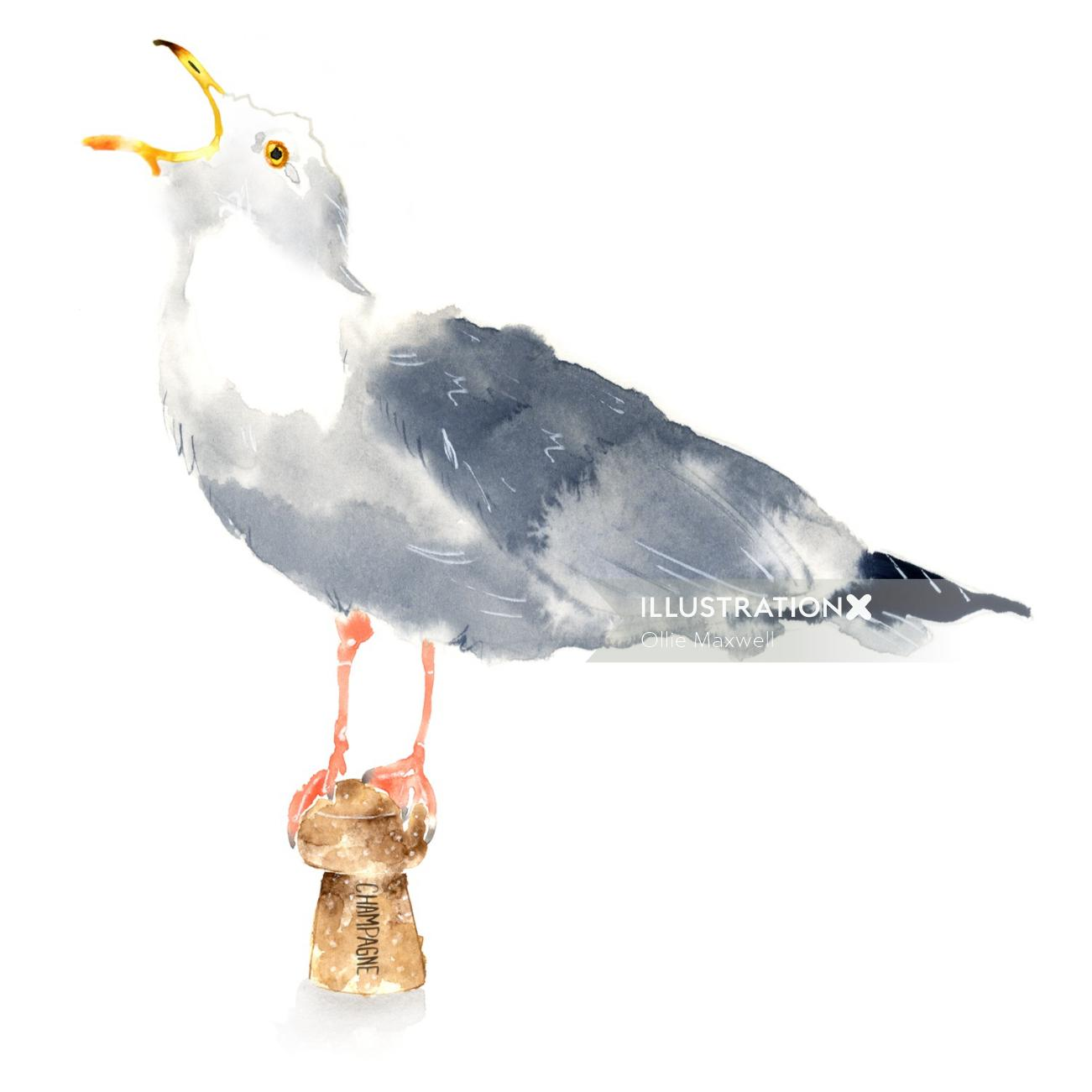watercolor seagull