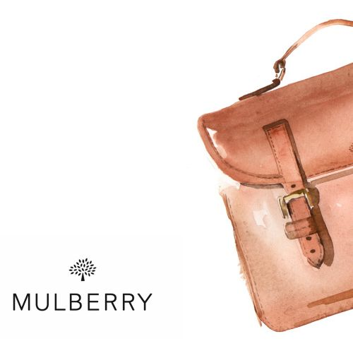 Watercolour art of Mulberry Handbag
