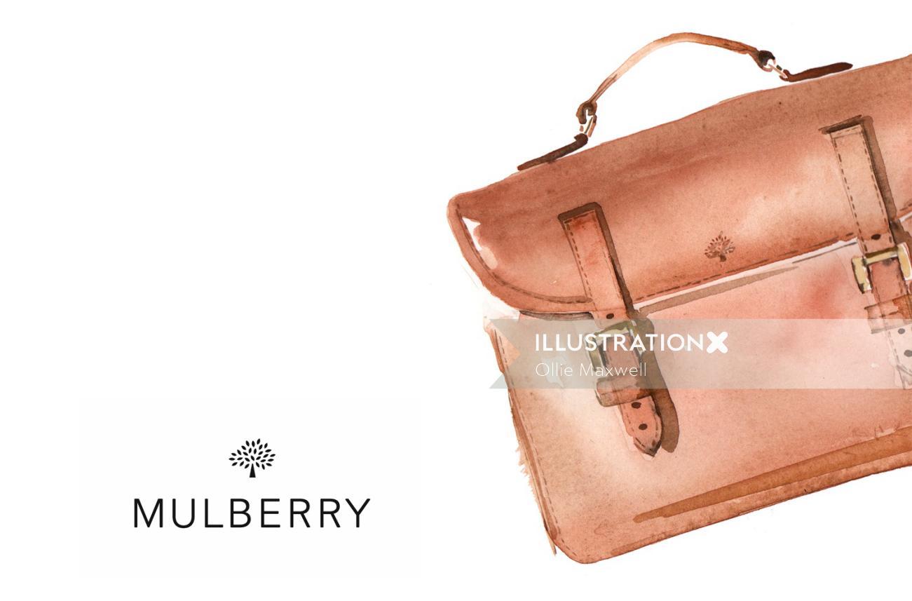 Watercolour art of Mulberry Handbag