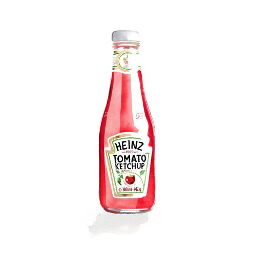 Heinz tomato ketchup packaging illustration