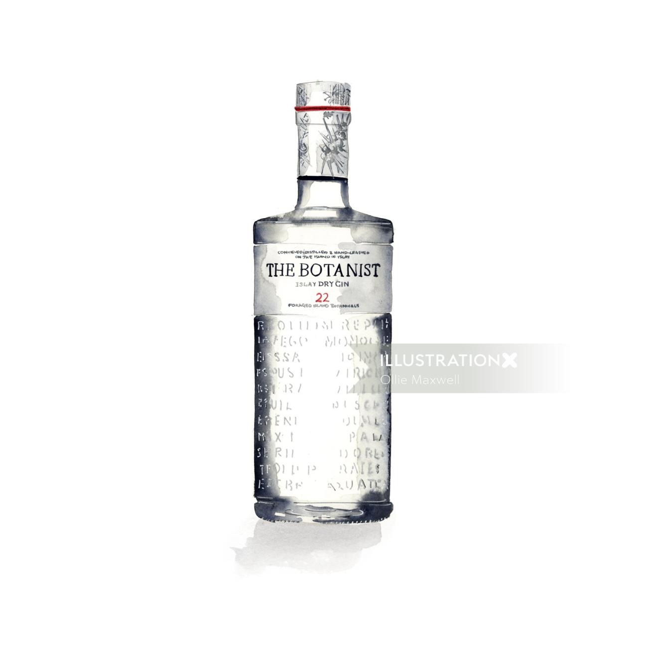 Food and drinks bottle of gin