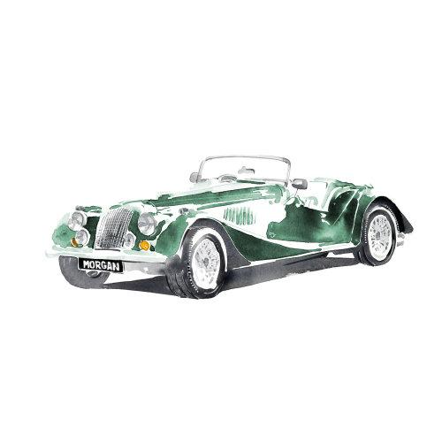 经典绿色复古车