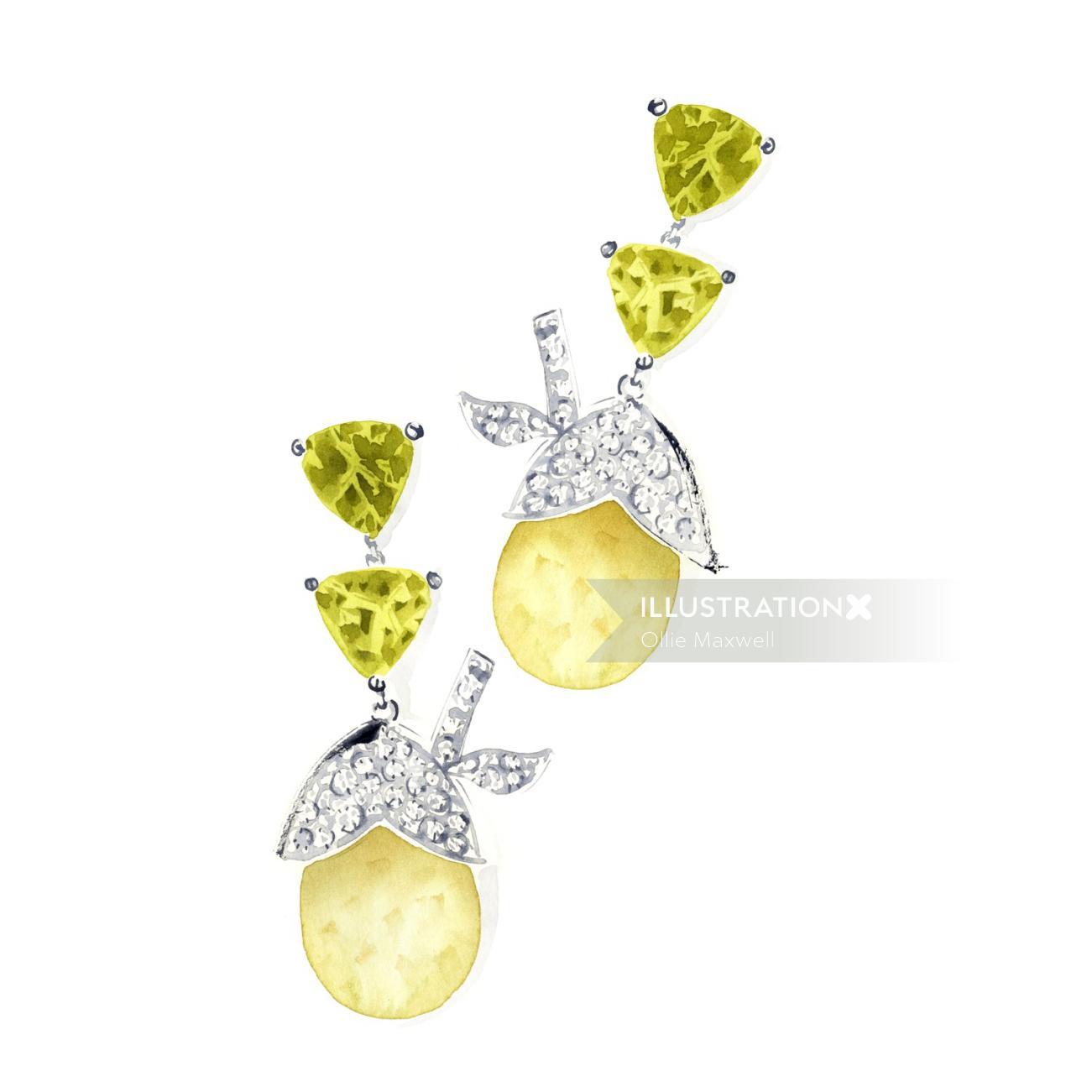 Silver diamond ear rings