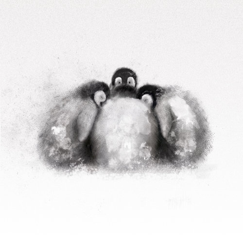 Baby penguins huddling together in the snow