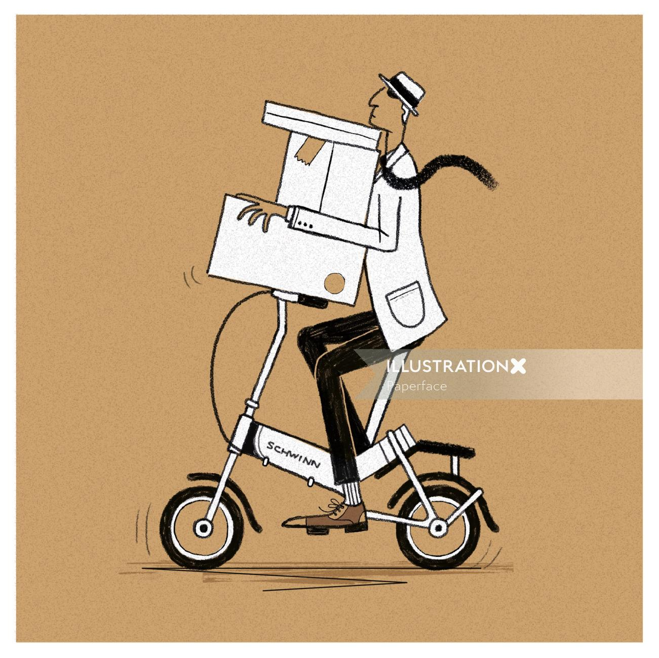 Package delivery on bicycle