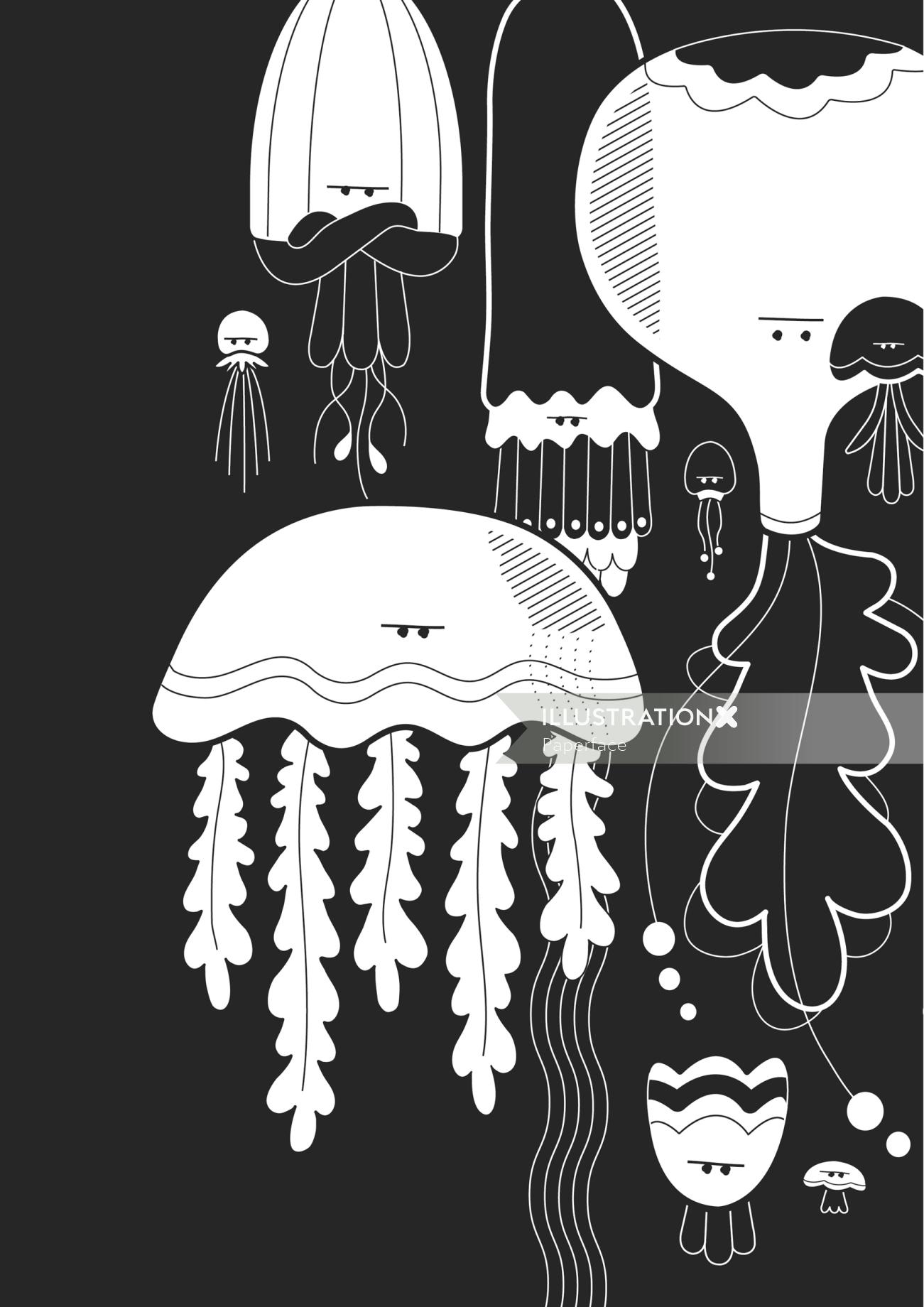 Jelly fish black and white