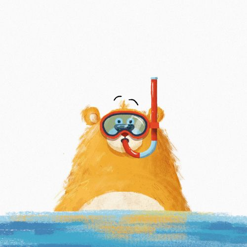 Swimming bear character design