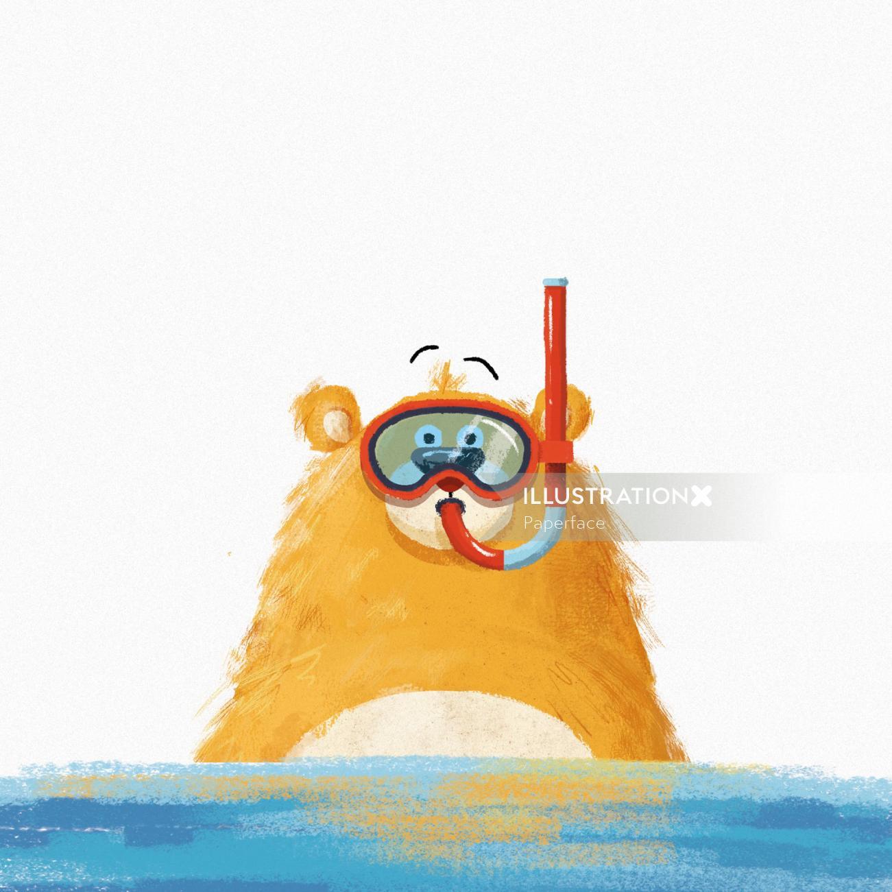 Swimming bear character design