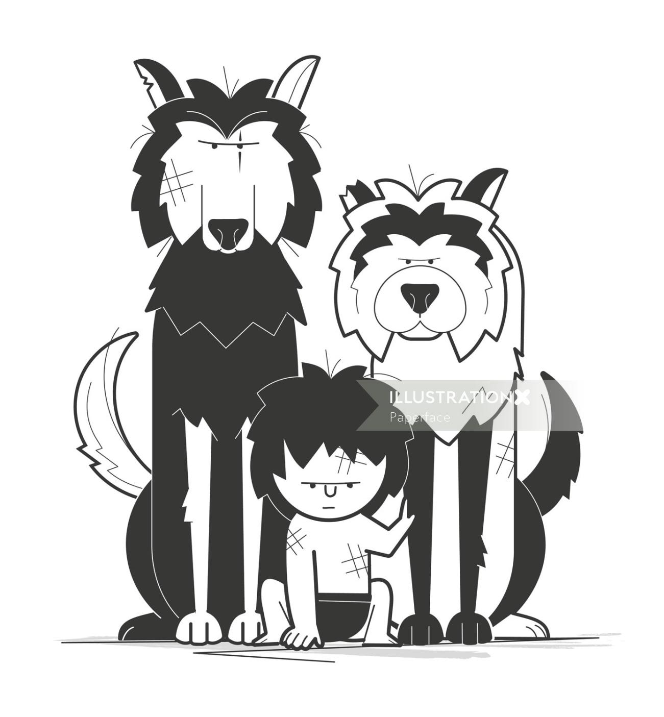 Kid with wolves