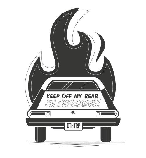 Carro preto e branco em chamas