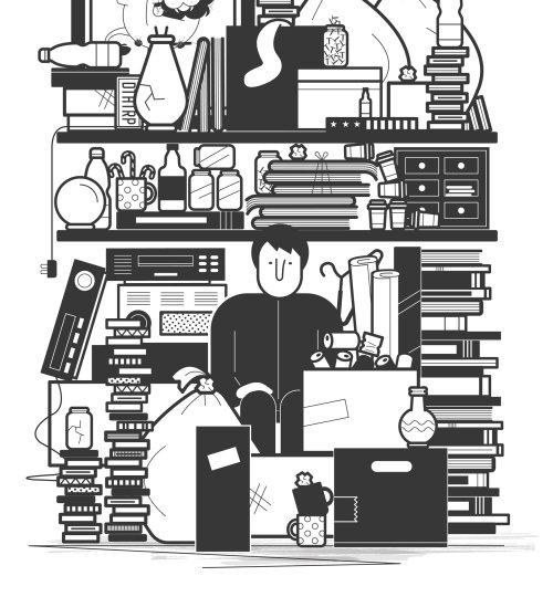 Illustration en noir et blanc de la librairie