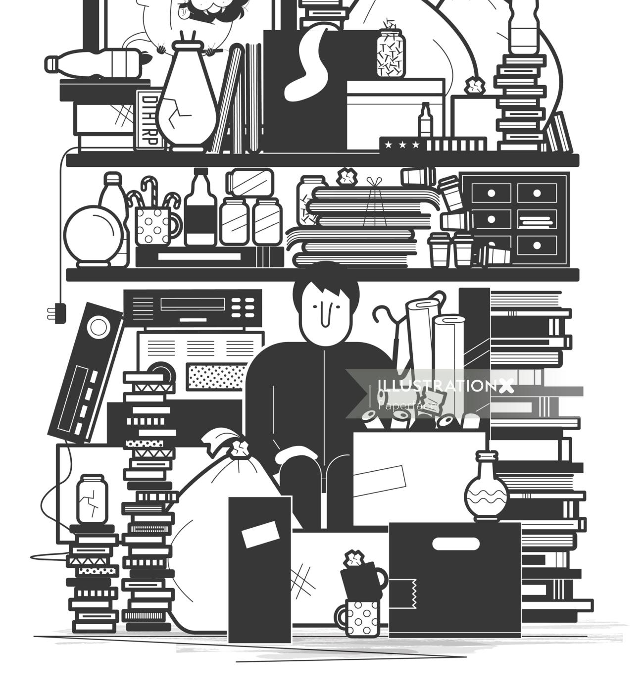 Black and white illustration of book store