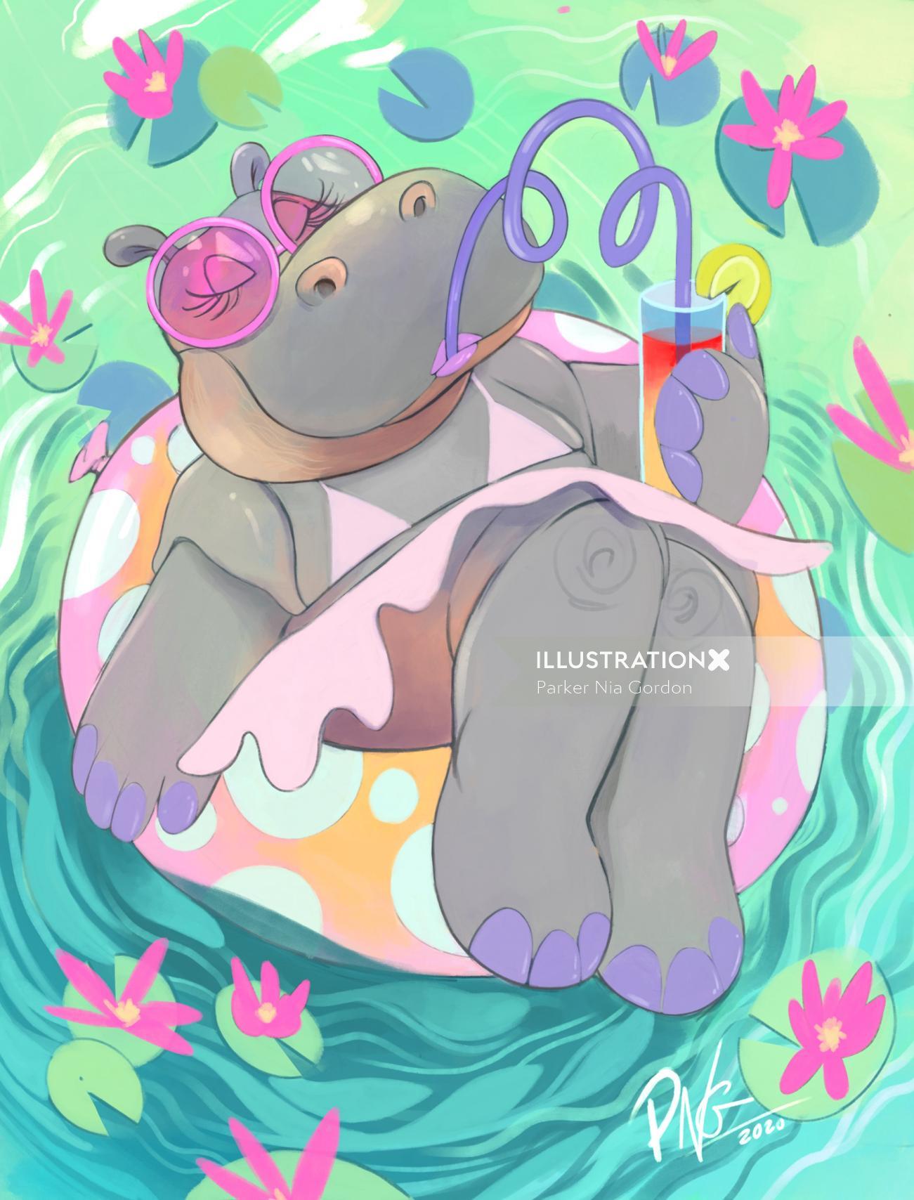 Cartoon illustration of Dahlia is ready for summer