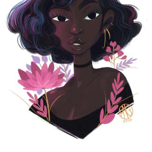 Portrait illustration of short curls hair girl