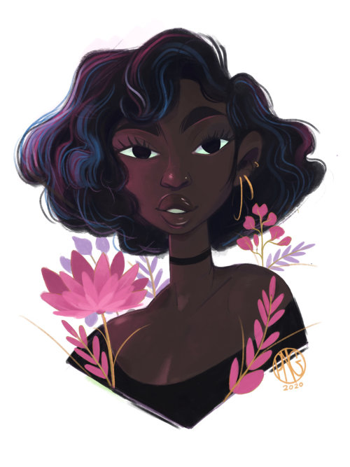 Portrait illustration of short curls hair girl