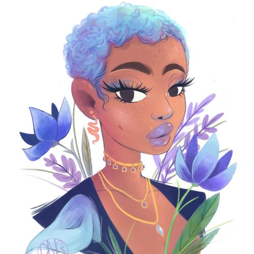Blue hair girl portrait illustration