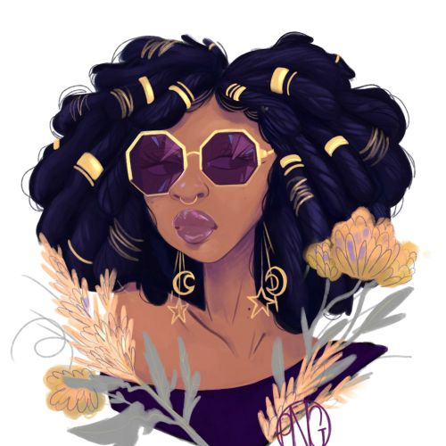 Black beauty portrait illustration