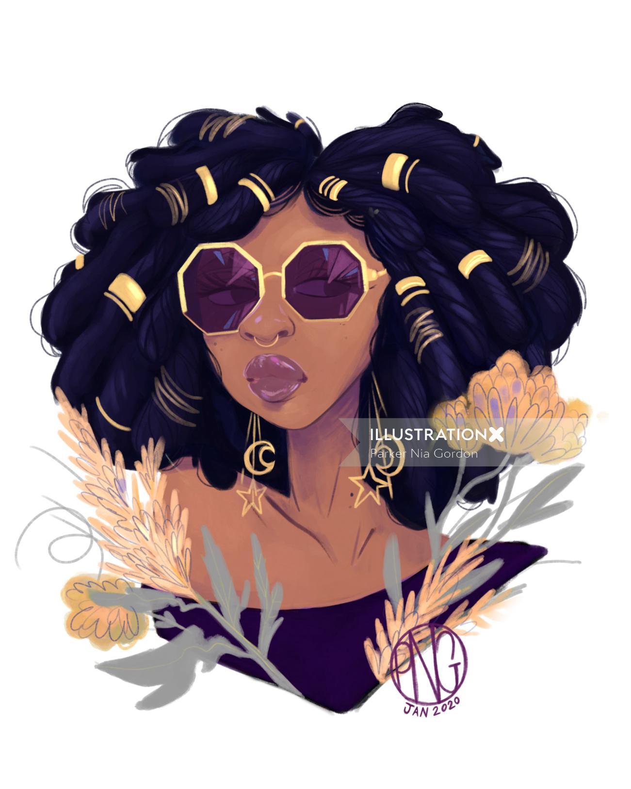 Black beauty portrait illustration