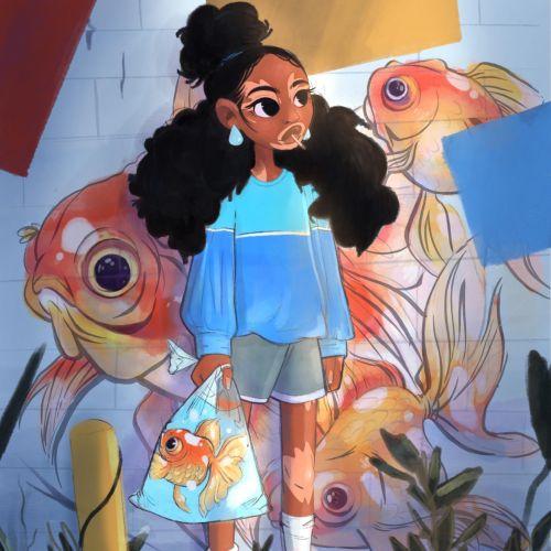 Cartoon girl holding gold fish bag