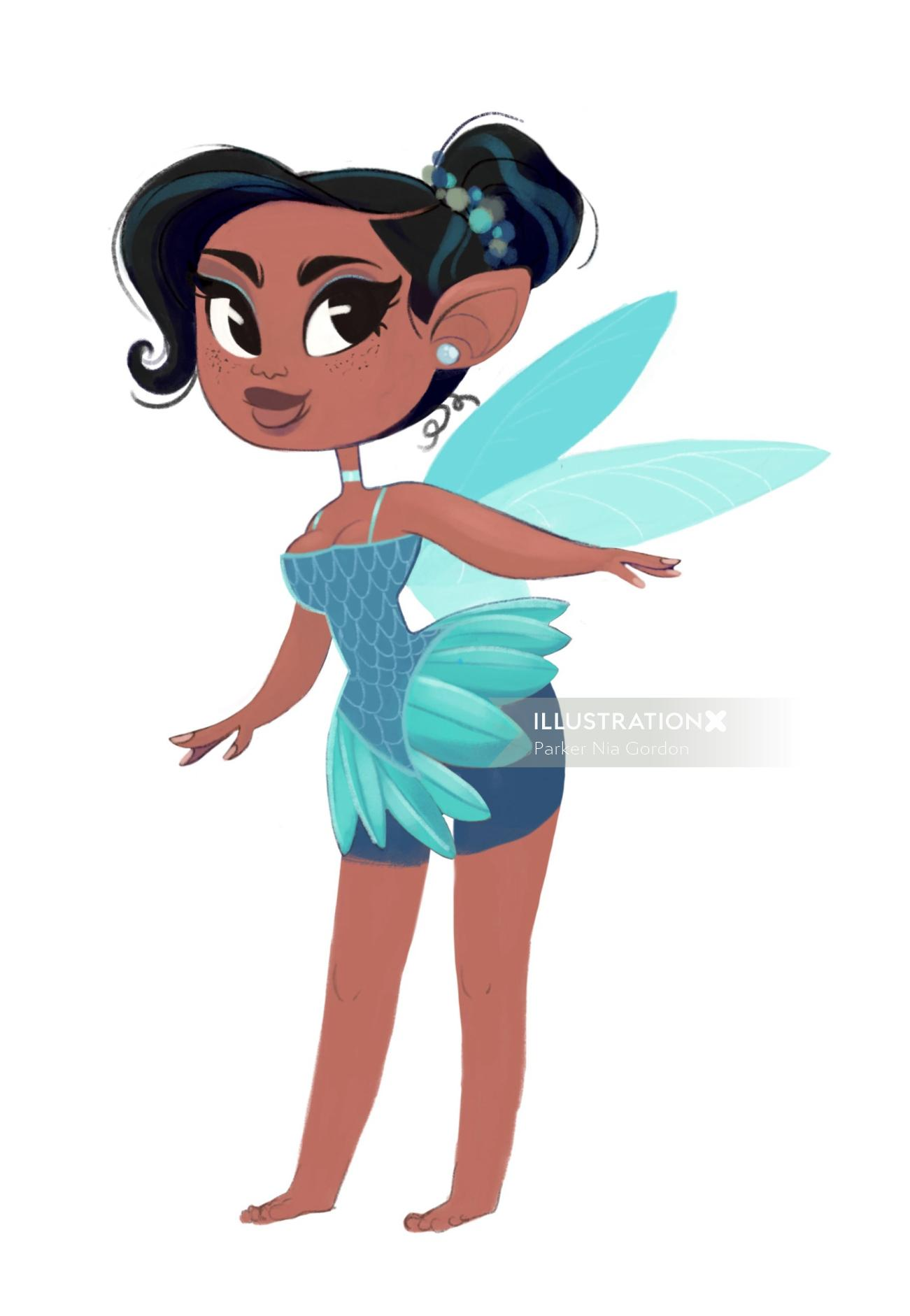 Fairy spot character illustration by Parker Nia Gordon