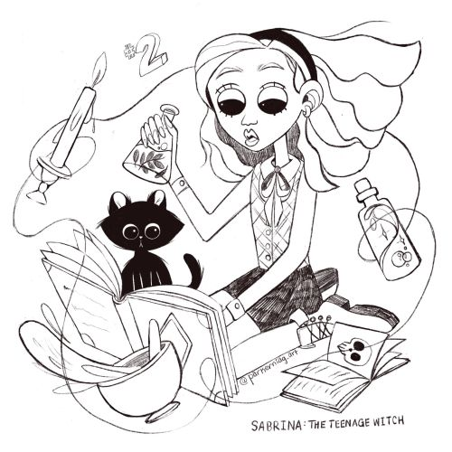 Line drawing of Teenage Witch
