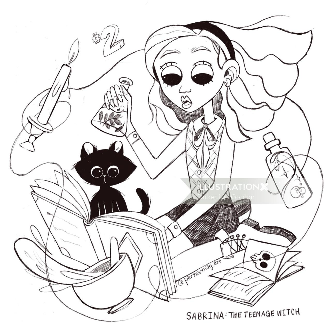 Line drawing of the teenage witch
