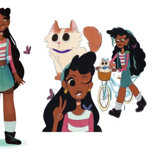 Long hair girl character design