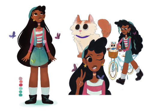 Character design of long hair girl