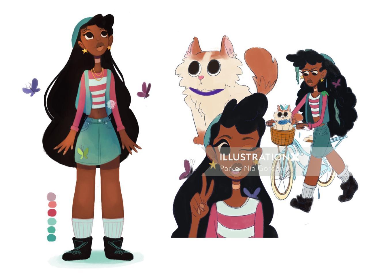 Character design of long hair girl