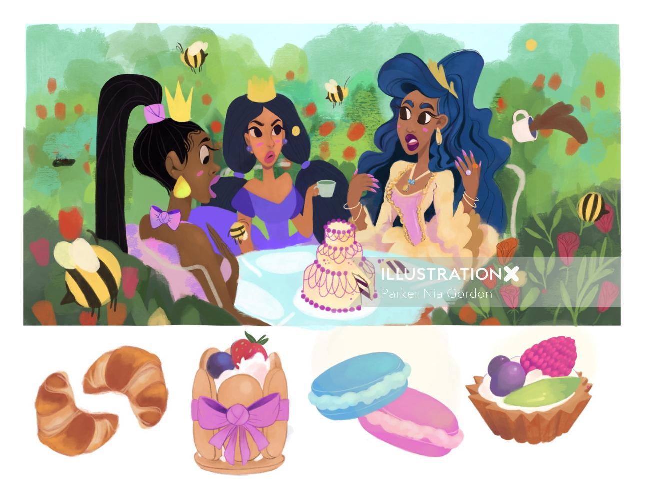 Watercolor painting of princess birthday celebration