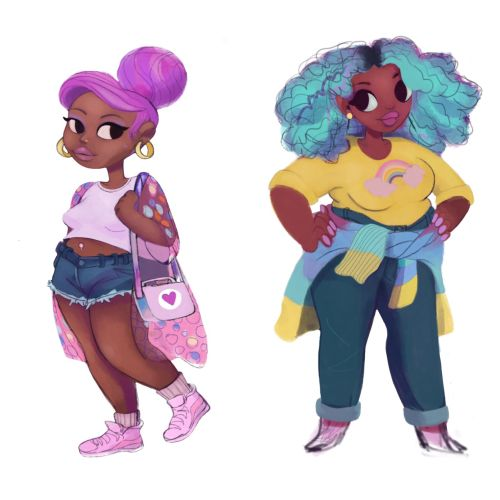 Cartoon character of Slim and Fat Girls