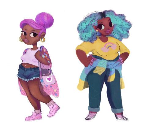 Character design of slim & fat girls