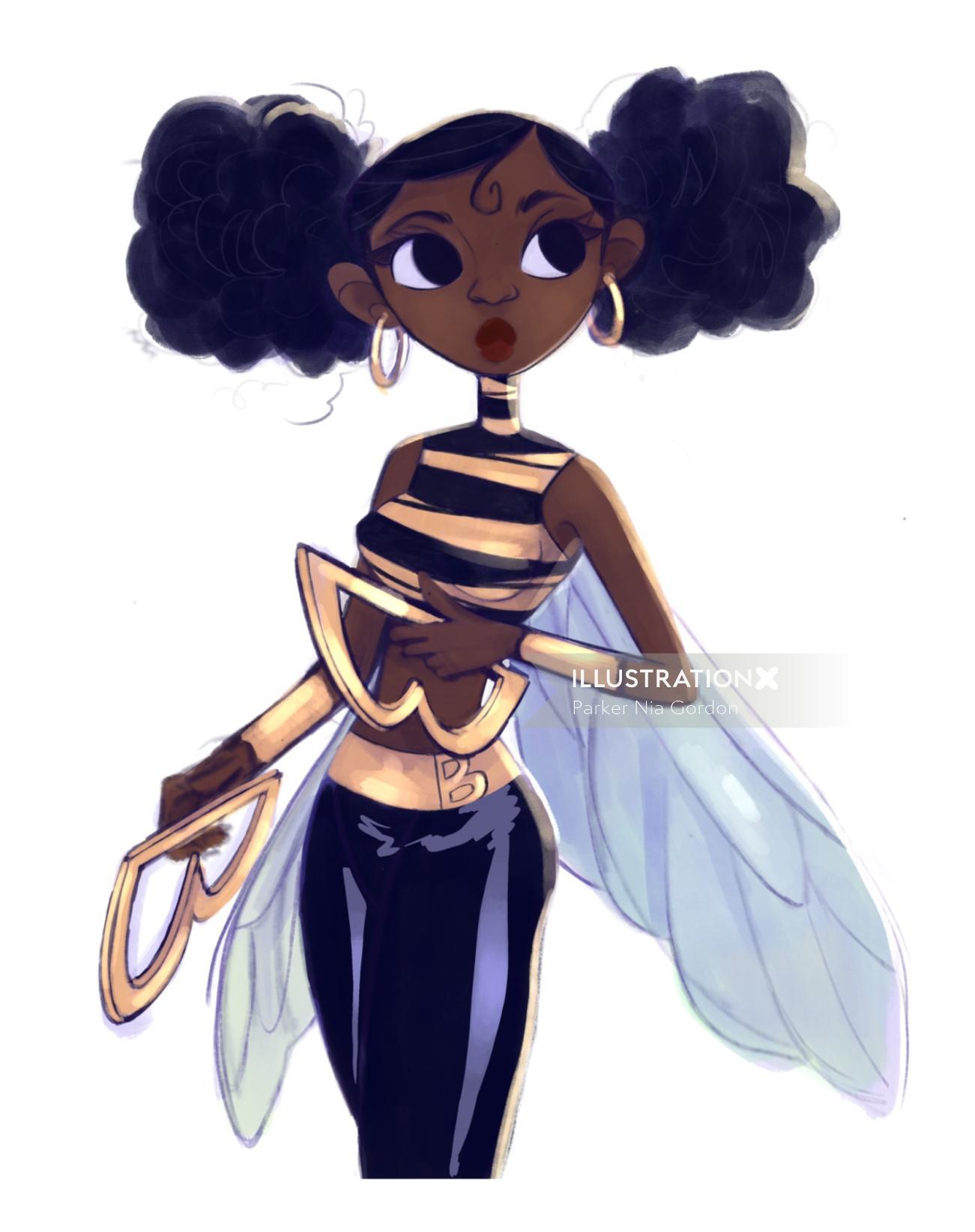Character design of bumblebee teen titans