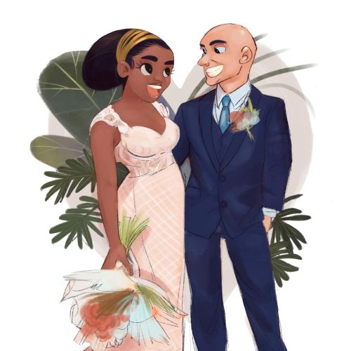 Character design of wedding couple
