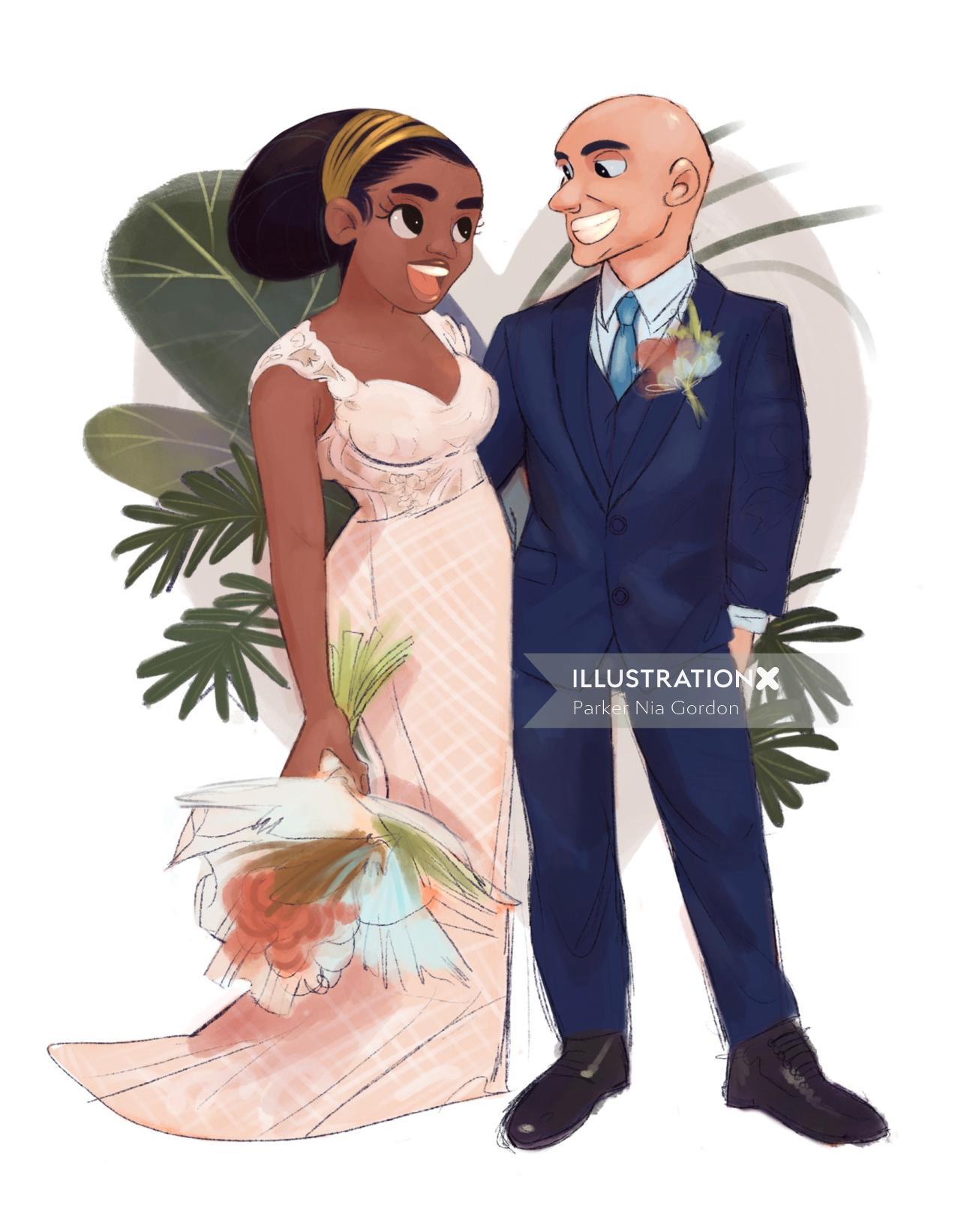 Character design of wedding couple