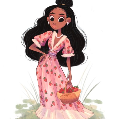 Strawberry dress girl character design