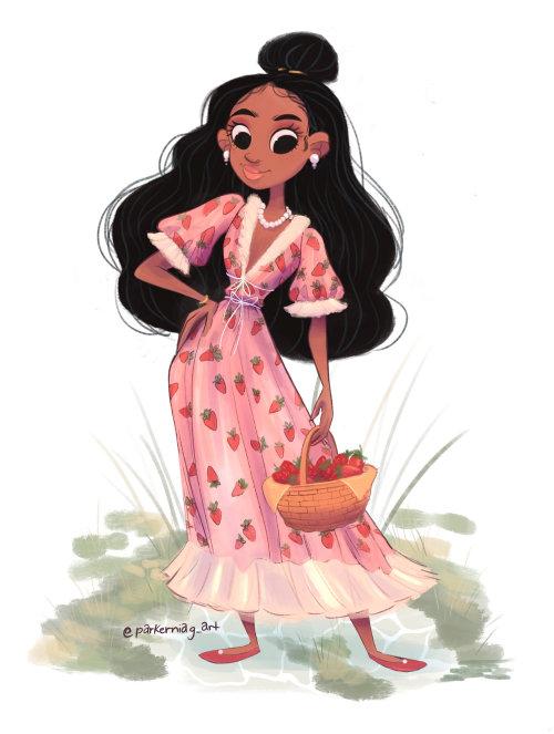 Desenho de personagens femininas de vestido morango