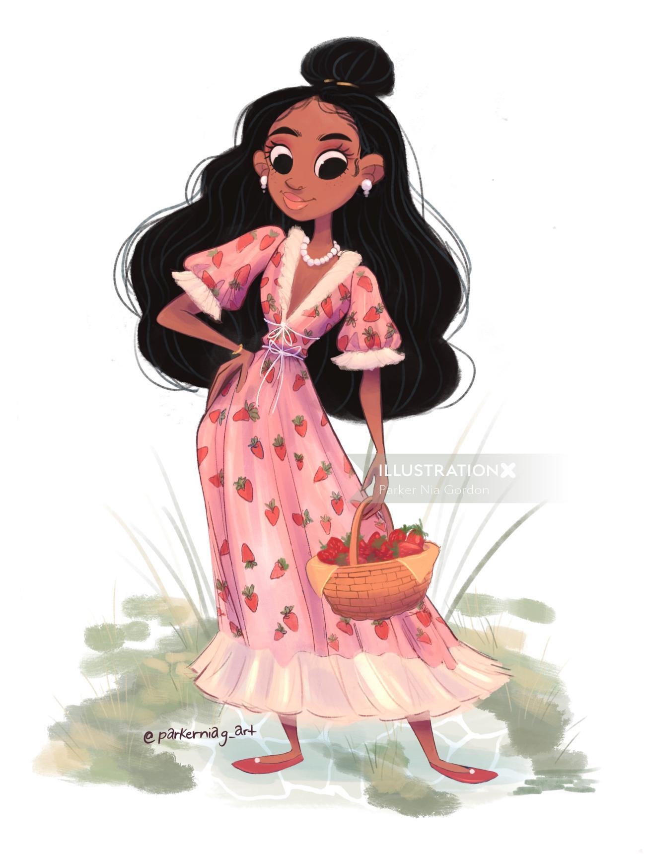 Strawberry dress girl character design