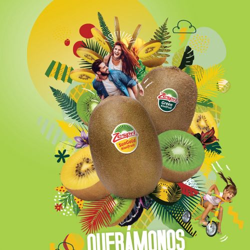 Graphical illustration of fruit montage zespri
