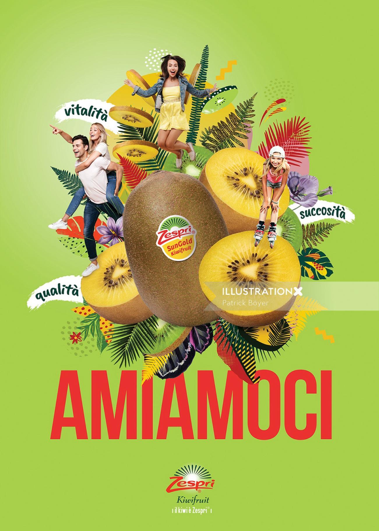 Photo montage Kiwi fruit Zespri Italy