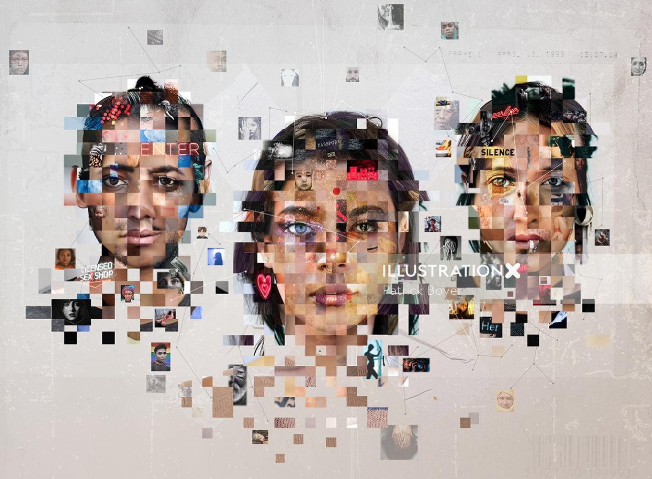 People Graphic mosaic design