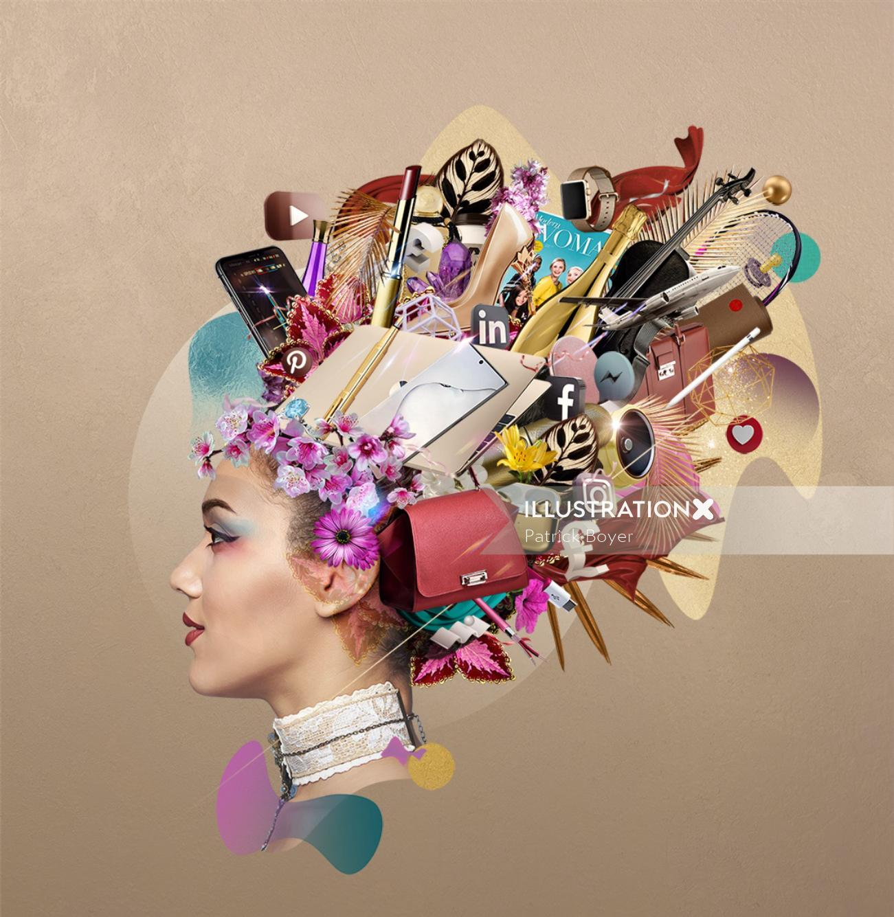 Advertising Media Branding woman with brands